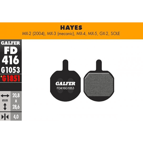 GALFER PASTILLAS HAYES MX-2, 3, 4, 5, GX-2, SOLE