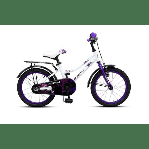 "Bicicleta Aro 16"" Niño Blanca/Purpura"