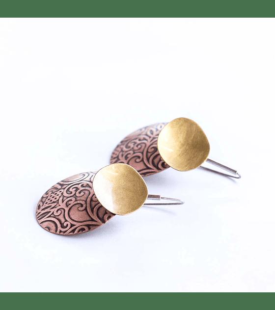Aro plata, bronce y cobre con textura
