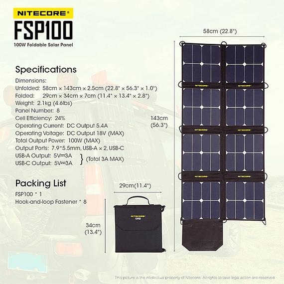 Cargador Solar Nitecore Plegable 100W- Image 13