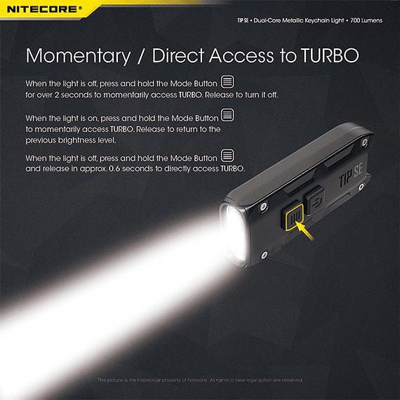 Linterna Compacta LED Nitecore 700 lúmenes Recargable USB TIP SE Negro- Image 13