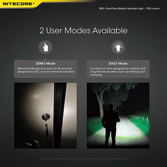 Linterna Compacta LED Nitecore 700 lúmenes Recargable USB TIP SE Negro- Image 15