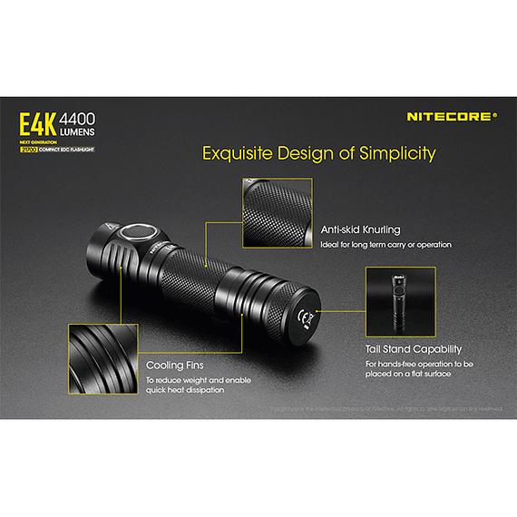 Linterna LED Nitecore 4400 lúmenes Recargable USB E4K- Image 10