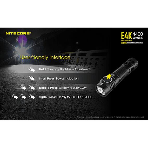 Linterna LED Nitecore 4400 lúmenes Recargable USB E4K- Image 16