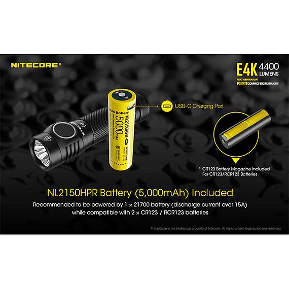 Linterna LED Nitecore 4400 lúmenes Recargable USB E4K- Image 19