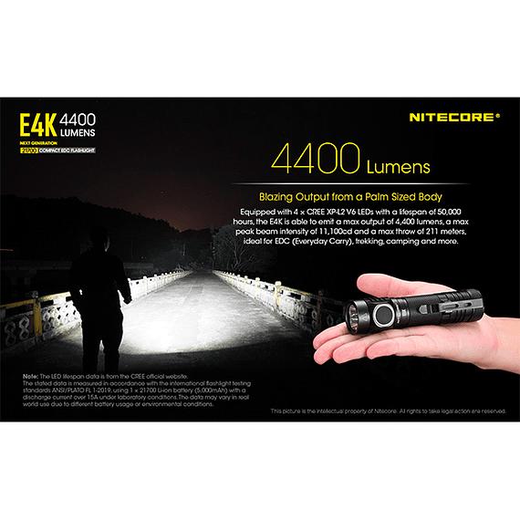 Linterna LED Nitecore 4400 lúmenes Recargable USB E4K- Image 24