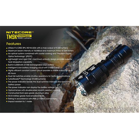 Linterna LED Nitecore 9500 lúmenes Recargable USB TM9K- Image 7