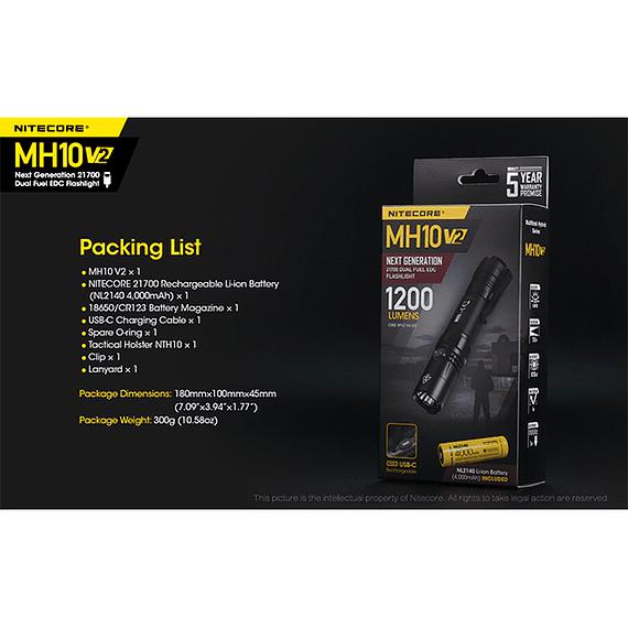 Linterna LED Nitecore 1200 lúmenes Recargable USB MH10 V2- Image 7