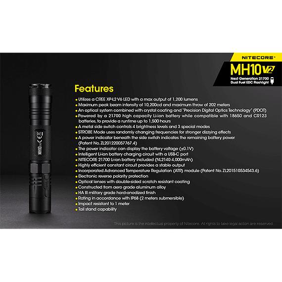 Linterna LED Nitecore 1200 lúmenes Recargable USB MH10 V2- Image 8