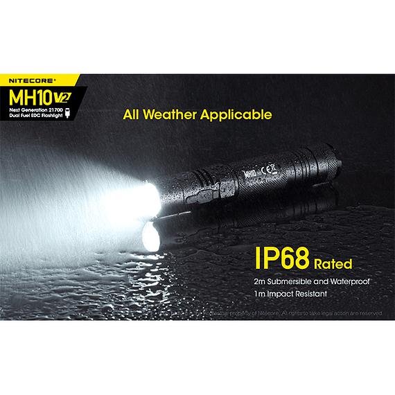 Linterna LED Nitecore 1200 lúmenes Recargable USB MH10 V2- Image 10