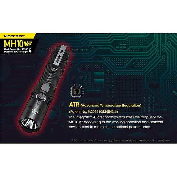 Linterna LED Nitecore 1200 lúmenes Recargable USB MH10 V2- Image 13