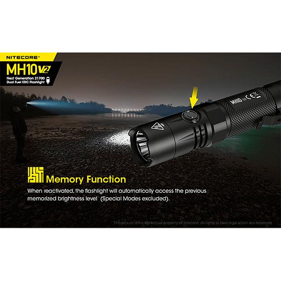 Linterna LED Nitecore 1200 lúmenes Recargable USB MH10 V2- Image 14
