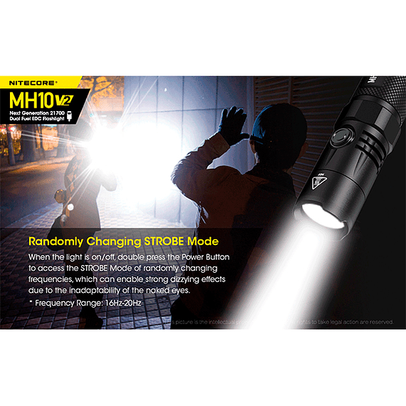 Linterna LED Nitecore 1200 lúmenes Recargable USB MH10 V2- Image 21