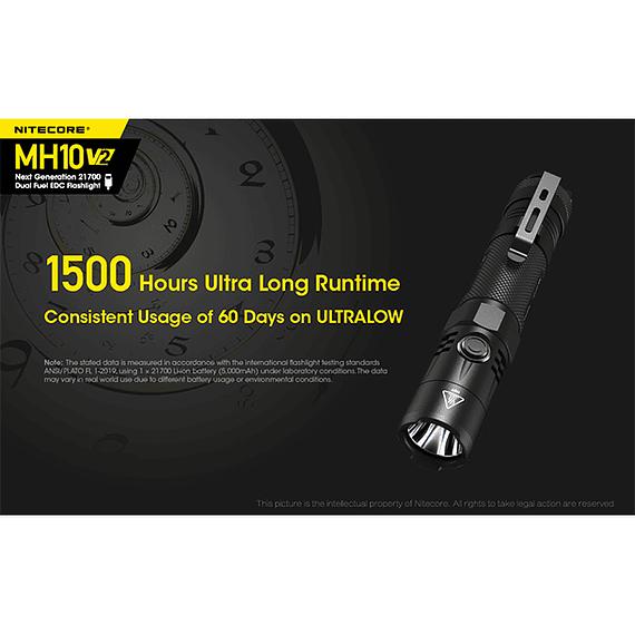 Linterna LED Nitecore 1200 lúmenes Recargable USB MH10 V2- Image 22