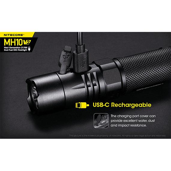 Linterna LED Nitecore 1200 lúmenes Recargable USB MH10 V2- Image 26