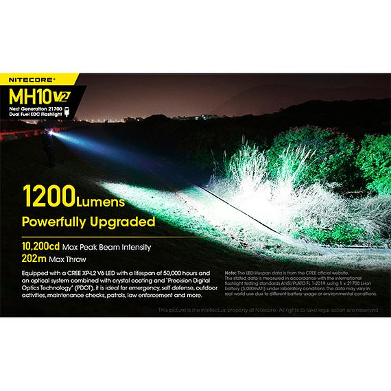 Linterna LED Nitecore 1200 lúmenes Recargable USB MH10 V2- Image 27