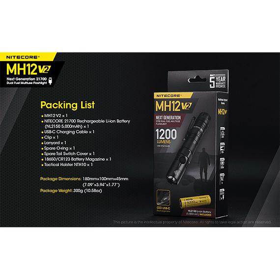 Linterna LED Nitecore 1200 lúmenes Recargable USB MH12 V2- Image 6