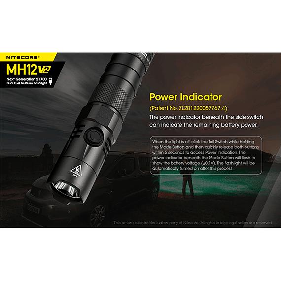 Linterna LED Nitecore 1200 lúmenes Recargable USB MH12 V2- Image 9
