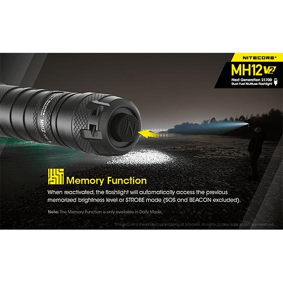 Linterna LED Nitecore 1200 lúmenes Recargable USB MH12 V2- Image 11
