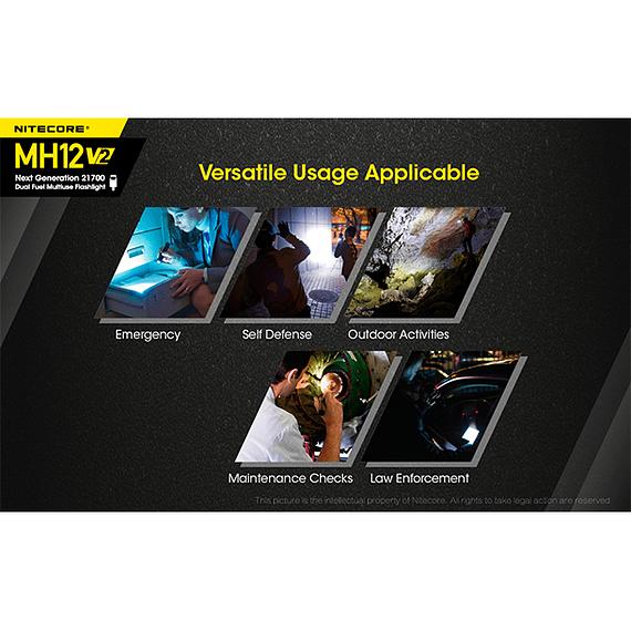 Linterna LED Nitecore 1200 lúmenes Recargable USB MH12 V2- Image 12