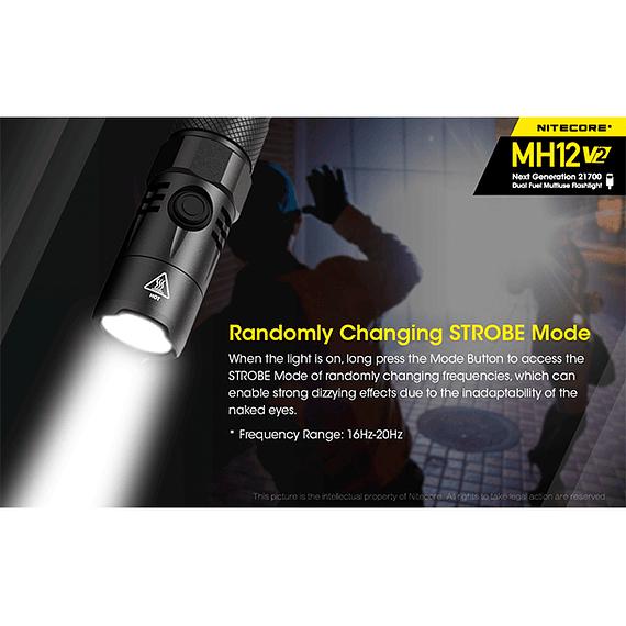 Linterna LED Nitecore 1200 lúmenes Recargable USB MH12 V2- Image 15