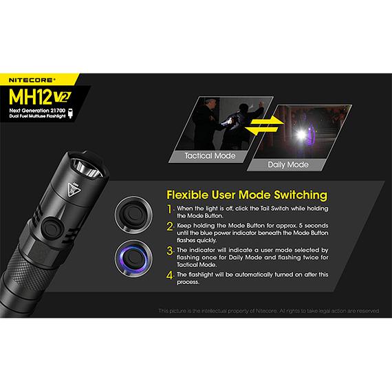 Linterna LED Nitecore 1200 lúmenes Recargable USB MH12 V2- Image 17