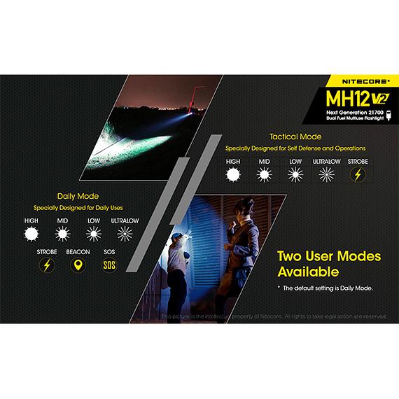Linterna LED Nitecore 1200 lúmenes Recargable USB MH12 V2- Image 18