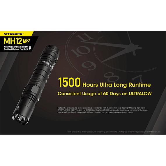 Linterna LED Nitecore 1200 lúmenes Recargable USB MH12 V2- Image 22