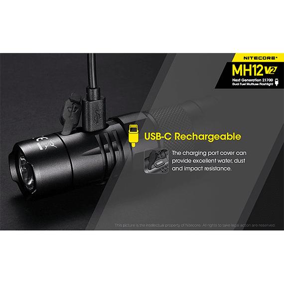 Linterna LED Nitecore 1200 lúmenes Recargable USB MH12 V2- Image 25