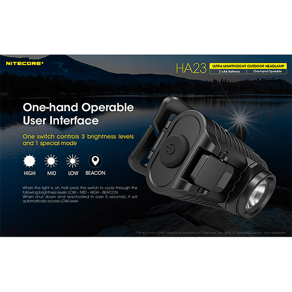 Linterna Frontal LED Nitecore 250 lúmenes USB HA23- Image 12