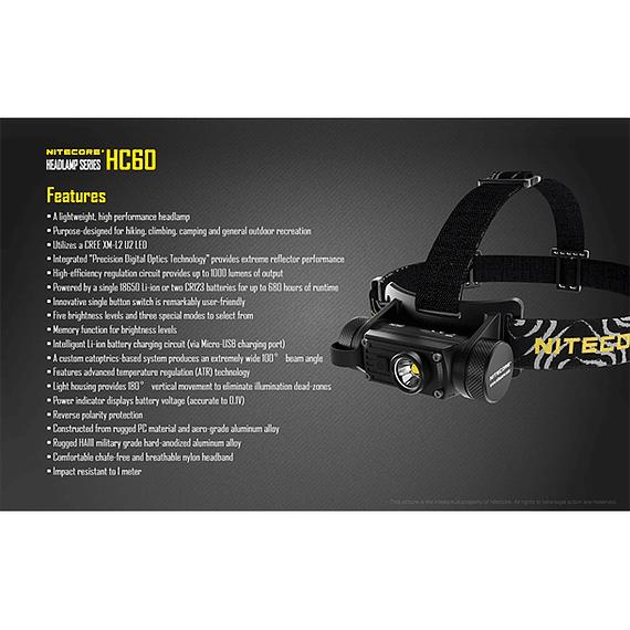 Linterna Frontal LED Nitecore 1000 lúmenes Recargable USB HC60- Image 7