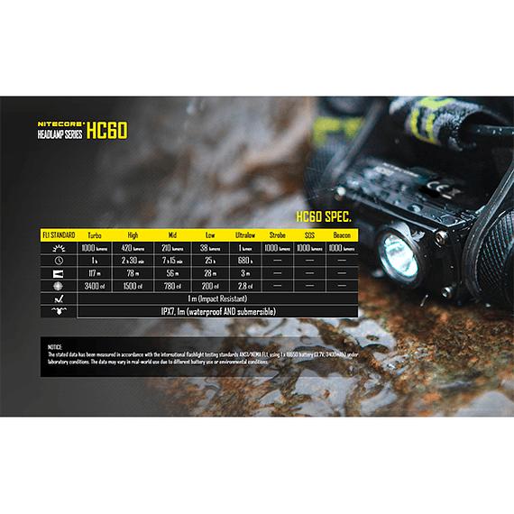 Linterna Frontal LED Nitecore 1000 lúmenes Recargable USB HC60- Image 8