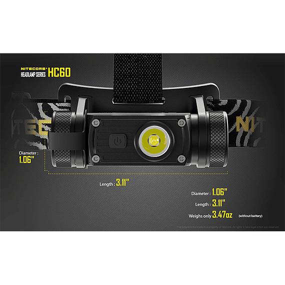 Linterna Frontal LED Nitecore 1000 lúmenes Recargable USB HC60- Image 9