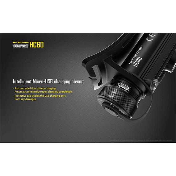 Linterna Frontal LED Nitecore 1000 lúmenes Recargable USB HC60- Image 21