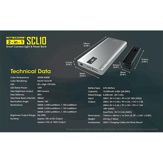 Foco LED y Cargador Nitecore 800 lúmenes SCL10- Image 7
