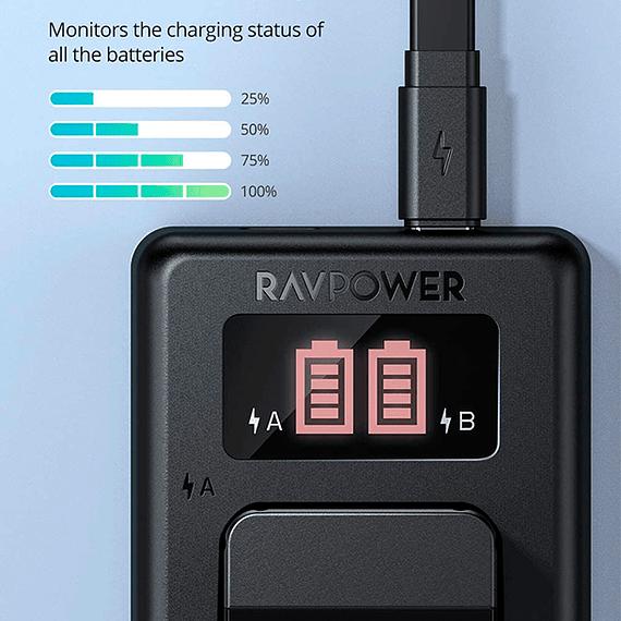 Batería Reemplazo RAVPower Sony NP-FW50 Kit 2x con Cargador USB- Image 4