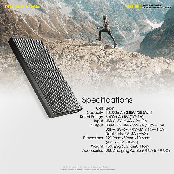Batería Externa Nitecore Carbono 10000 mAh- Image 7