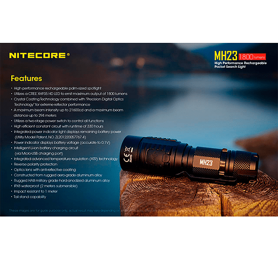 Linterna LED Nitecore 1800 lúmenes Recargable USB MH23- Image 5