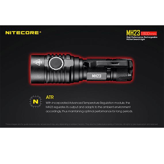 Linterna LED Nitecore 1800 lúmenes Recargable USB MH23- Image 16