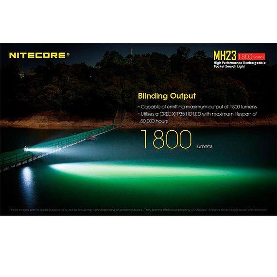 Linterna LED Nitecore 1800 lúmenes Recargable USB MH23- Image 22