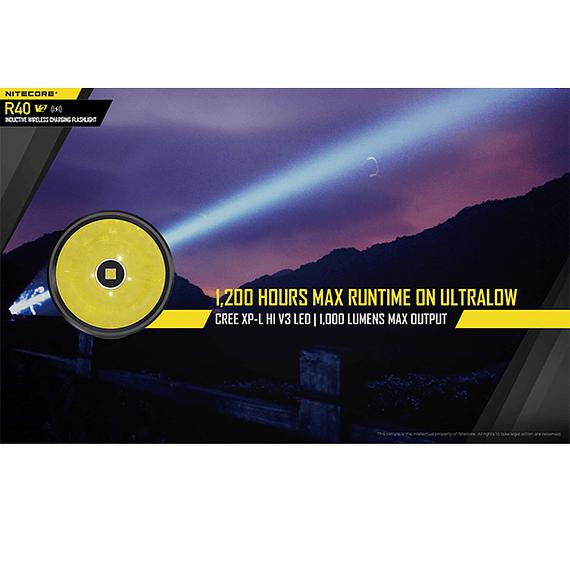 Linterna LED Nitecore 1000 lúmenes Recargable USB R40 V2- Image 23