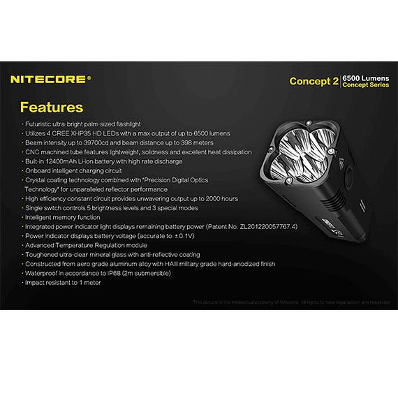 Linterna LED Nitecore 6500 lúmenes Recargable Concept 2- Image 5