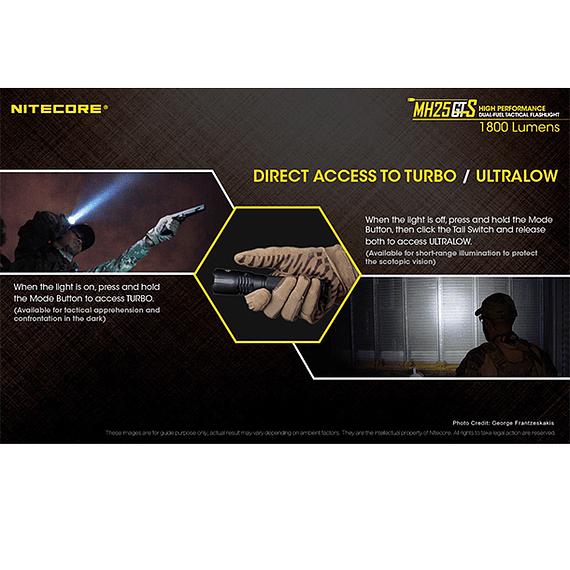 Linterna LED Nitecore 1800 lúmenes Recargable USB MH25GTS- Image 15