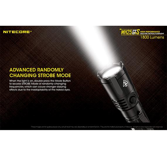 Linterna LED Nitecore 1800 lúmenes Recargable USB MH25GTS- Image 16