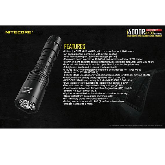 Linterna LED Nitecore 4400 lúmenes Recargable USB i4000R- Image 11