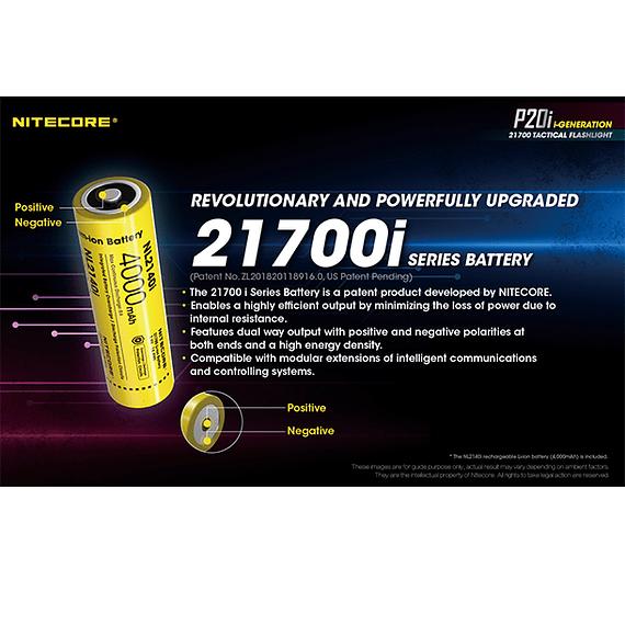 Linterna LED Nitecore 1800 lúmenes Recargable USB P20i- Image 24