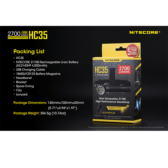 Linterna Frontal LED Nitecore 2700 lúmenes Recargable USB HC35- Image 6