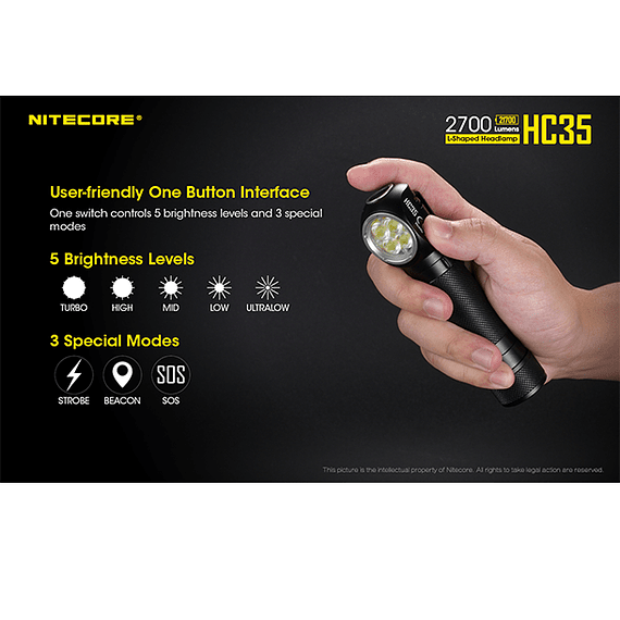 Linterna Frontal LED Nitecore 2700 lúmenes Recargable USB HC35- Image 17