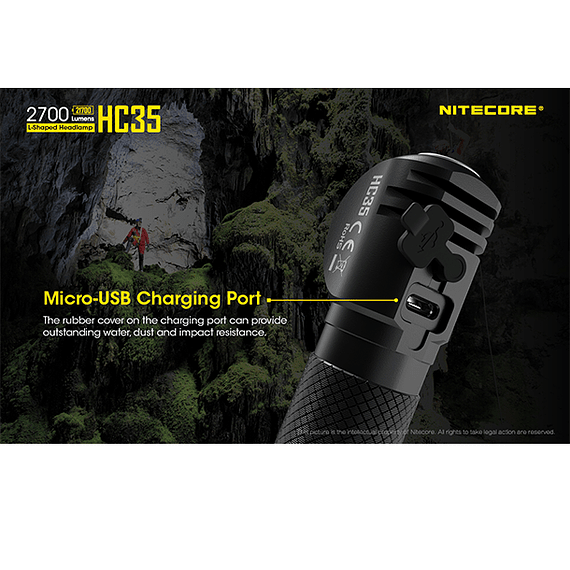 Linterna Frontal LED Nitecore 2700 lúmenes Recargable USB HC35- Image 18