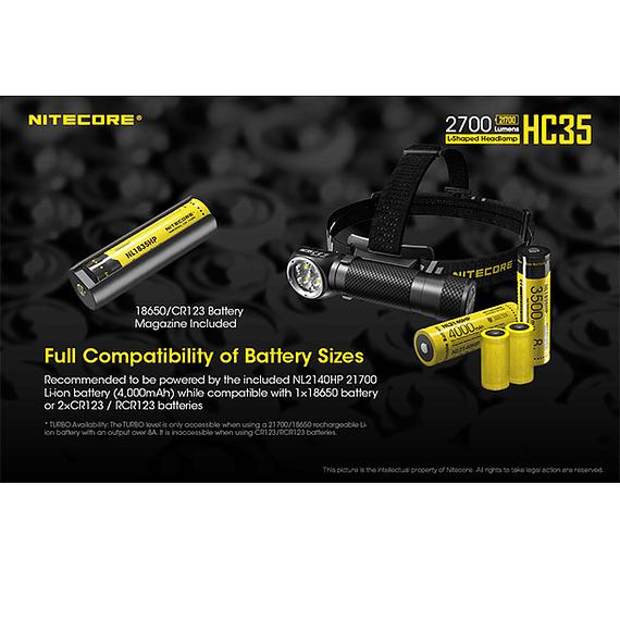 Linterna Frontal LED Nitecore 2700 lúmenes Recargable USB HC35- Image 20